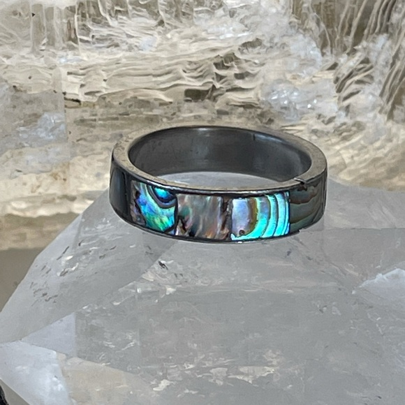 Vintage 70's Abalone Ring Silver Band